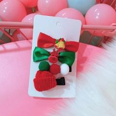 Christmas Snowflake Hat Hair Ball Gift Box Bow Hairpin Set bowknot