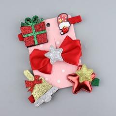 5pcs/set Christmas tree hat snowman bow hairpin set kids Christmas gifts gift box