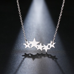 Star Camera Pentagram ECG Pendant Stainless Steel Long Chain Clavicle Necklace silver star