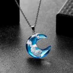 Blue Sky and White Clouds Transparent Spherical Moon Shaped Resin Pendant Necklace for Women Fashion Jewelry moon