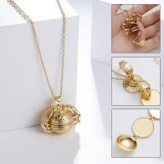 Expanding 4 Photo Locket Necklace Magic Ball Heart Angel Wing Pendant Jewellery Gold