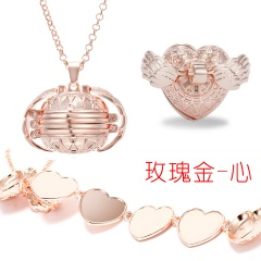 Valentine Magic Photo Pendant Memory Opened Locket Necklace Gift Family Lover Pet Photo Frames Heart Round Angel Wing Necklace rose gold