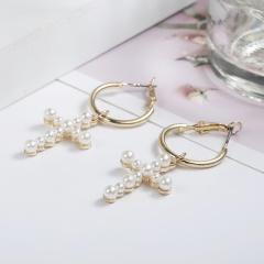 New Fashion Women's Cross Drop Earrings White Imitation Pearl Dangle Earrings Women's Brinco Elegant Gift Jewelry Cross