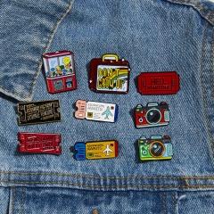 Movie Ticket Brooch Candy Vending Machine Punk Film Enamel Pin Cinema Cartoon Camera Cute Air Ticket Rainbow Suitcase Lapel Pins Candy Machine