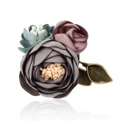 Triple Colorful Fabric Rose Flower Bow Rhinestone Crystal  Pin Pearl Brooch Accessories For Coat Triple Flower 2