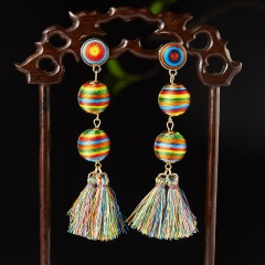 Fashion Bohemian Tassel Long Earring Colorful Cotton Fabric Drop Dangle Fringe Earring Vintage Ethnic Ball Wedding Party Jewelry Colorful