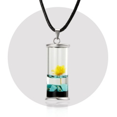 Dried Daisy Glass Floating Lockets Pendant Necklace Dried Flower Snow Mountain Wood Drifting Bottle Necklace Wish Bottle Jewelry yellow