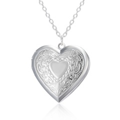 Silver Plated Carved Love Heart Shape Valentine Lover Gift Animal Photo Can Open Album Frame Box Pendant Necklace Jewelry heart