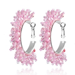 Geometric crystal rice bead earrings Pink