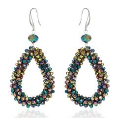 Fashion Crystal Water Drop Dangle Earrings For Women Geometric Statement Earrings Trendy Jewelry Colorful