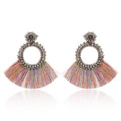 Fashion Bohemia Tassel Crystal Big Earrings Handmade Pink Green Silk Fabric Drop Dangle Earrings Women Ethnic Wedding Jewelry Colorful