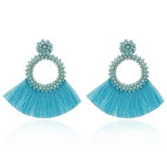 Fashion Bohemia Tassel Crystal Big Earrings Handmade Pink Green Silk Fabric Drop Dangle Earrings Women Ethnic Wedding Jewelry Blue