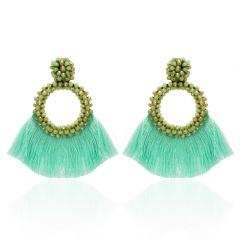 Fashion Bohemia Tassel Crystal Big Earrings Handmade Pink Green Silk Fabric Drop Dangle Earrings Women Ethnic Wedding Jewelry Green