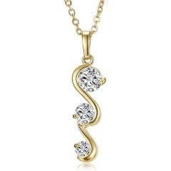 Simple Fashion Geometric Shiny Zircon Crystal Pendant Necklace Gold Color Alloy Chain Zircon Necklace