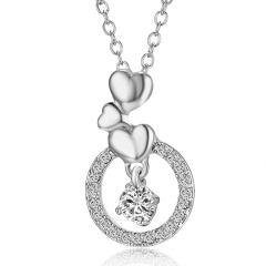 New Zircon Pendants Frog Necklace For Women Crystal Heart Crown Sliver Clavicle Chain Necklaces Fashion Jewelry Round
