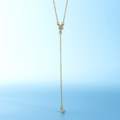 New Fashion Gold Silver Color Flower Shiny Rhinestone Crystal Necklace with Long Chain Gold Flower