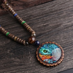 Handmade beaded wooden bead peacock feather pendant necklace Ethnic style Long sweater chain necklace necklace 1