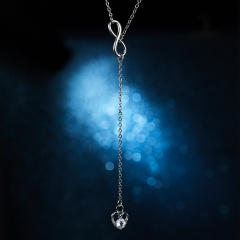New Fashion 8 word Long Tassel Love Heart Pedant Necklace for Women Heart 1