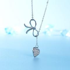 New Fashion 8 word Long Tassel Love Heart Pedant Necklace for Women Heart 2
