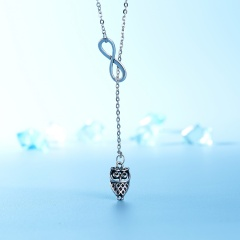 New Design Long Chain 8 Word Owl Pendant Necklace for Women Fashion Jewelry Gift Owl