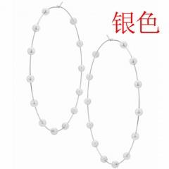 Geometric large circle Pearl  Earrings silvery