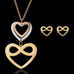Women's triangle hollow stainless steel necklace pendant earrings jewelry set Love of eight
