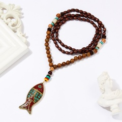 Women Retro Handmade Bohemia Tibetan Beads Pendant Necklace Long Sweater Chain fish