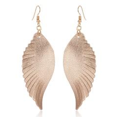 Fashion Wings Genuine Leather Ear Hook Earrings Dangle Women Festival Party Gift rose gold
