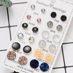 12 Pairs Fashion Rhinestone Crystal Flower Earrings Set Women Ear Stud Jewellery 12 pairs / card