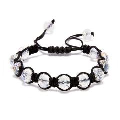 Fashion Crystal Beaded Bracelet Adjustable Braided Rope Lucky Bangle Women Gift white