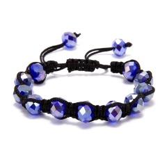 Fashion Crystal Beaded Bracelet Adjustable Braided Rope Lucky Bangle Women Gift purple