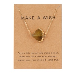 Geometric Natural Stone Resin Card Charm Pendant Necelace Chain Women Party Gift Amber