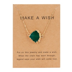 Geometric Natural Stone Resin Card Charm Pendant Necelace Chain Women Party Gift Green
