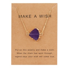 Geometric Natural Stone Resin Card Charm Pendant Necelace Chain Women Party Gift Purple