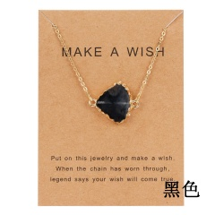Geometric Natural Stone Resin Card Charm Pendant Necelace Chain Women Party Gift Black