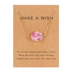 Fashion Geometric Natural Stone Resin Pendant Necelace Choker Chain Jewelry Gift Pink