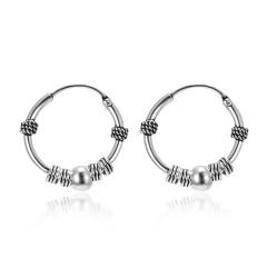 Fashion Retro Silver Circle Twine Earrings Hoop Women Men Jewelry Elegant Gift 486-7