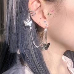 Charm Women's Butterfly Crystal Ear Hoop Clip Earrings Drop Dangle Jewelry Gift Butterfly