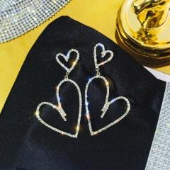 2020 Trendy Fashion Rhinestone Elegant Round Circle Heart Earring Women Minimalist Gold Color Korean Statement Earrings Heart