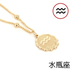 12 Zodiac Horoscope Crystal Constellation Gold Necklace Pendant Womens Jeweller Aquarius
