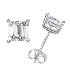 CZ Stone Earring Silver Rhinestone Fashion Stud Earring Flower Small Stud Earring for Women Jewelry Square