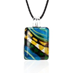 Fashion Summer Black Rope Short Necklace Square Glass Pendant Necklace Colorful Murano Glass Necklace Jewelry Sky Blue