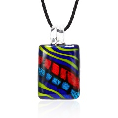 Fashion Summer Black Rope Short Necklace Square Glass Pendant Necklace Colorful Murano Glass Necklace Jewelry Dark Blue