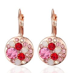 Natural Stone CZ Turquoise Earrings Women Crown Ear Stud Crystal Alloy Jewelry Gold
