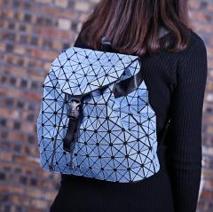 Geometry Folding Bag Travel School Bags Backpack Women Denim Girl High Students Bagpack Wathet Blue