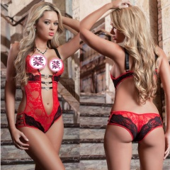 Newest Hot Women Sexy Lace Sheer Bra Set Underwear Women  Erotic Lingerie One-piece Bra Briefs Set Red S