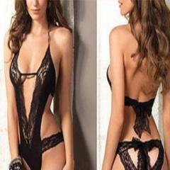 Women Sexy Lace Sheer Bra Set Underwear Women   Girls Wireless Babydoll Erotic Lingerie Dress Bra   Briefs Set Black Free Size