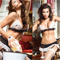 Hot Women Baby Doll Lenceria Sexi Erotic Lingerie Dress Cosplay Housemaid Uniform Costumes Underwear Sex Clothes Role Black Free Size 1