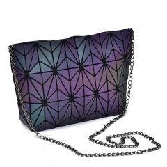Folding Single Shoulder Bag Ladies Bag Geometric Luminous Chain Baoling Grid Mosaic Small Bag Crossbody Bag Geometric flower money