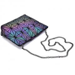 Folding Single Shoulder Bag Ladies Bag Geometric Luminous Chain Baoling Grid Mosaic Small Bag Crossbody Bag Triangle